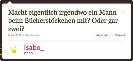Bücherstöckchen Tweet Isabo